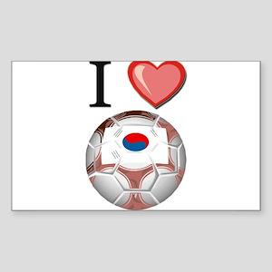 I Love South-Korea Football Rectangle Sticker