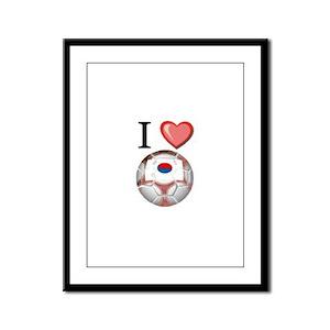 I Love South-Korea Football Framed Panel Print