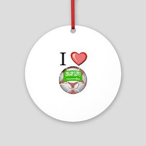 I Love Saudi-Arabia Football Ornament (Round)