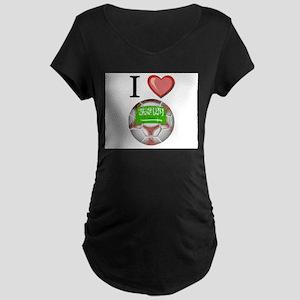 I Love Saudi-Arabia Football Maternity Dark T-Shir
