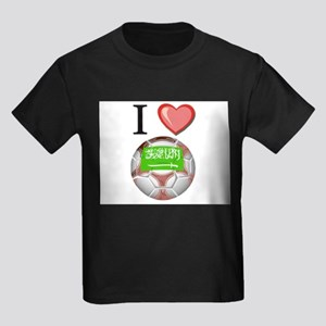 I Love Saudi-Arabia Football Kids Dark T-Shirt
