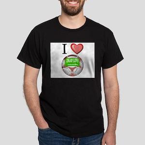 I Love Saudi-Arabia Football Dark T-Shirt
