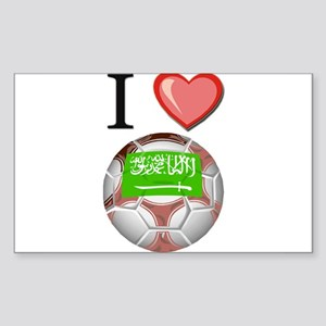 I Love Saudi-Arabia Football Rectangle Sticker