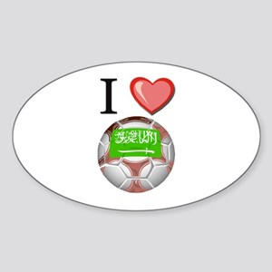 I Love Saudi-Arabia Football Oval Sticker