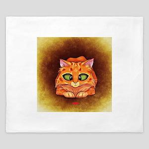 Orange Cat on Brown King Duvet