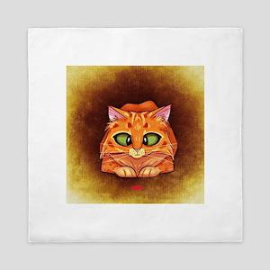 Orange Cat on Brown Queen Duvet