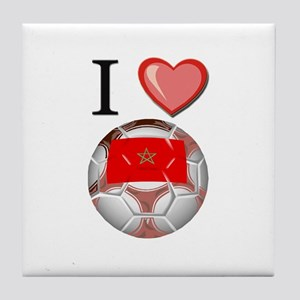 I Love Morocco Football Tile Coaster