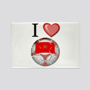 I Love Morocco Football Rectangle Magnet