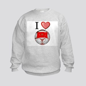 I Love Morocco Football Kids Sweatshirt