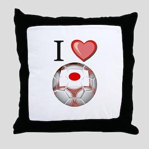 I Love Japan Football Throw Pillow