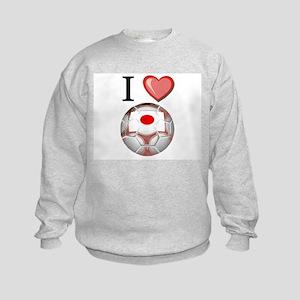 I Love Japan Football Kids Sweatshirt