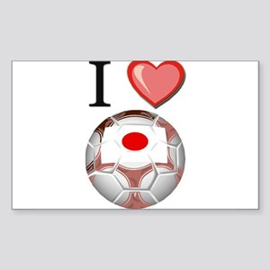 I Love Japan Football Rectangle Sticker