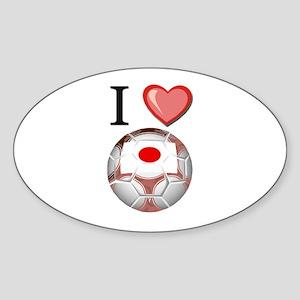 I Love Japan Football Oval Sticker