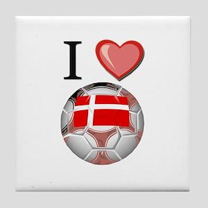 I Love Denmark Football Tile Coaster