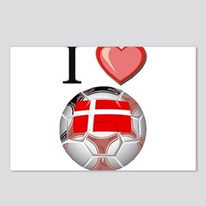 I Love Denmark Football Postcards (Package of 8)