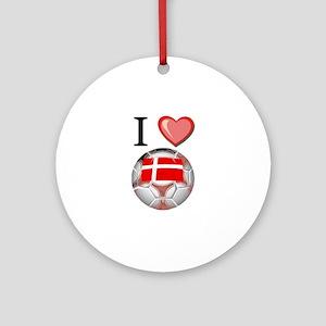 I Love Denmark Football Ornament (Round)