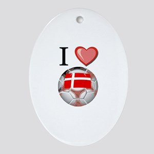 I Love Denmark Football Oval Ornament