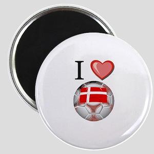 I Love Denmark Football Magnet
