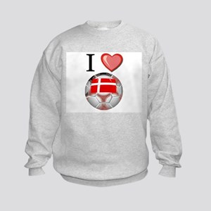 I Love Denmark Football Kids Sweatshirt