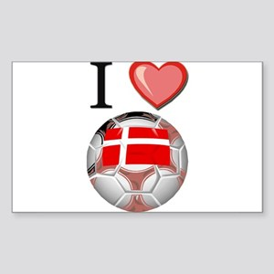 I Love Denmark Football Rectangle Sticker
