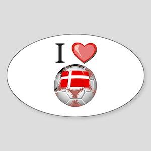 I Love Denmark Football Oval Sticker