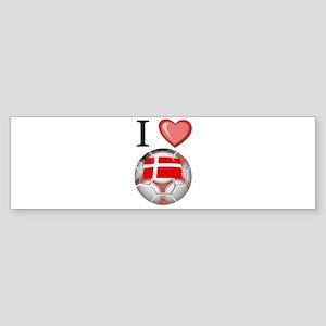 I Love Denmark Football Bumper Sticker