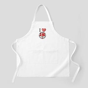 I Love Denmark Football BBQ Apron