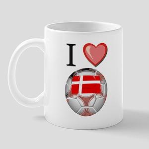 I Love Denmark Football Mug