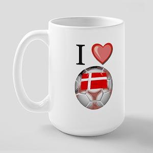 I Love Denmark Football Large Mug