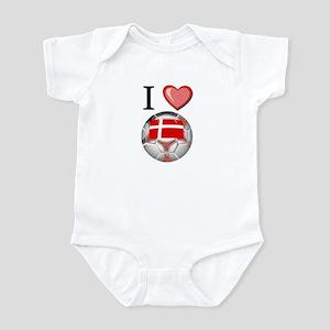 I Love Denmark Football Infant Bodysuit