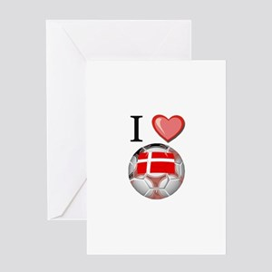 I Love Denmark Football Greeting Card
