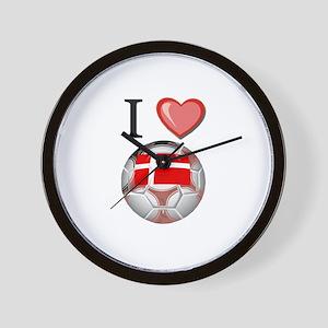 I Love Denmark Football Wall Clock