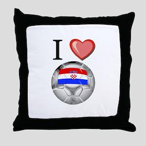 I Love Croatia Football Throw Pillow