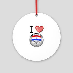 I Love Croatia Football Ornament (Round)