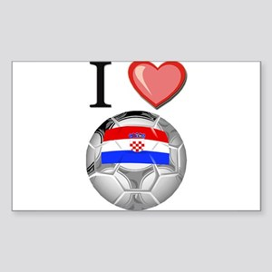 I Love Croatia Football Rectangle Sticker