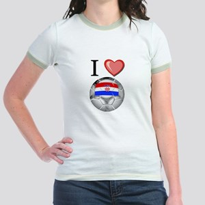 I Love Croatia Football Jr. Ringer T-Shirt