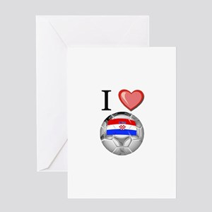 I Love Croatia Football Greeting Card
