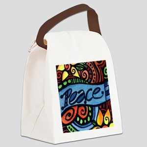 Peace, Love and Flowers Canvas Lunch Bag