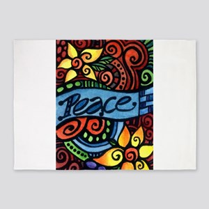 Peace, Love and Flowers 5'x7'Area Rug