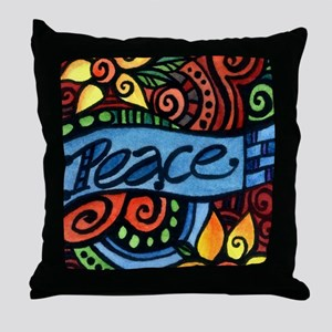 Peace, Love and Flowers Throw Pillow