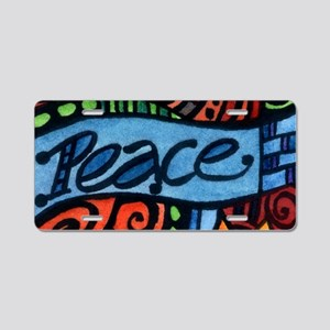 Peace, Love and Flowers Aluminum License Plate