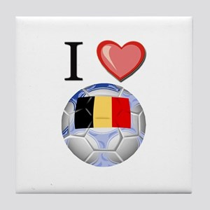 I Love Belgian Football Tile Coaster
