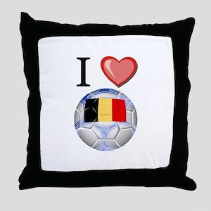I Love Belgian Football Throw Pillow