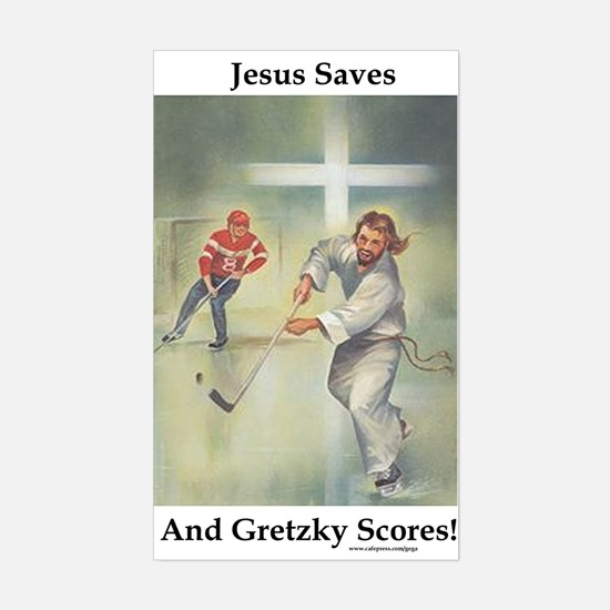 Jesus Saves, Gretzky Scores Rectangle Decal