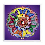 Purple Rainbow Butterfly Mandala Tile Coaster