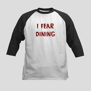 I Fear DINING Kids Baseball Jersey