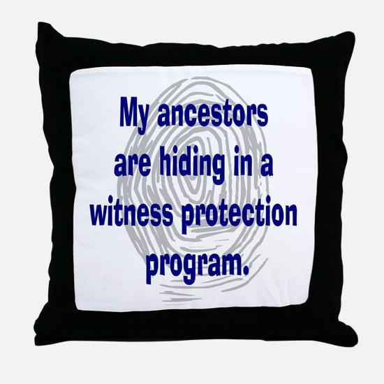 Genealogy's Witness Protection (blue) Throw Pillow