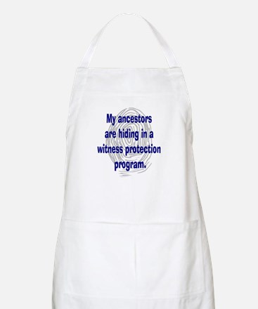 Genealogy's Witness Protection (blue) BBQ Apron
