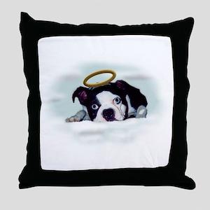 boston terrier angel  Throw Pillow