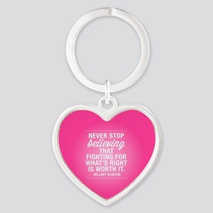 Never Stop Believing Heart Keychain